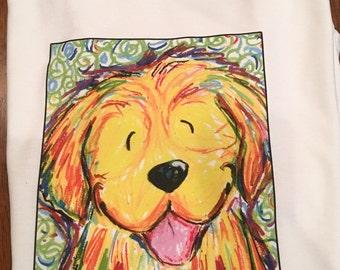 Whimsical golden retriever happy colors t shirt unisex