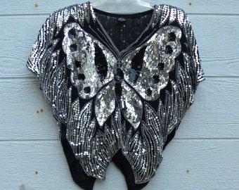 Vintage 1980s Silver & Black Silk Sequin Top
