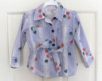 Vintage Health-tex Girls 4T Strawberry Belted Shirt
