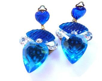 Blue Earrings, Blue Heart Earrings, Cobalt blue earrings, Blue cobalt Earrings, Heart Earrings, Royal blue earrings, Clip on Earrings, Clip