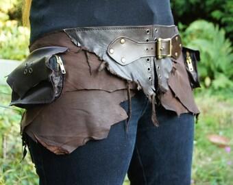 Brown soft leather festival belt