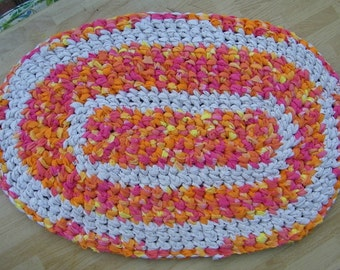 """Shabby Hand Crocheted Tangerine Pinks Yellow & White Oval Rag Rug 27.5"""" x 18."""""""
