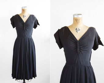 1940s Dress - 40s Dress - Black Rayon Crepe Ruched Dress
