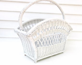 Mid Century Wicker Basket, Magazine Rack, Large Basket with Handle, White Wicker Bathroom Storage – Wedding Card Holder