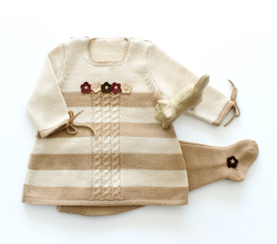 Knitted baby dress with stripes, cables and  felt flowers, Leotard. 100% wool. READY TO SHIP size Newborn.