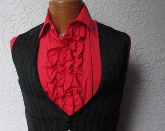 Vintage Men's Victorian Black Silk Vest Waistcoat sm XS