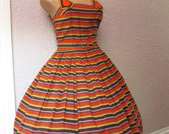 50's  Vintage Cotton Striped Sundress sm/med