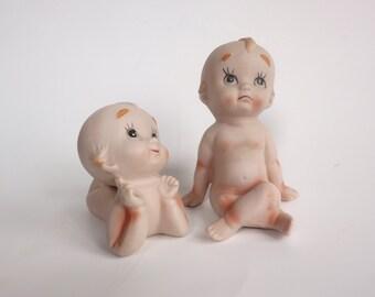Kewpies Vintage Bisque Kewpie Figurines, One REPAIRED, Lefton? Made in Japan