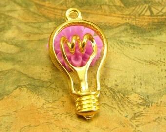 10 pcs Gold Light Bulb Charms 29x18mm CH2471