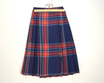 Vintage 60s Blue Red Plaid High Waisted Wrap Kilt Skirt // womens xsmall - size 00
