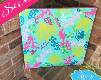 18x18 Preppy Canvas Inspired By Lilly Pulitzer Surf Blue