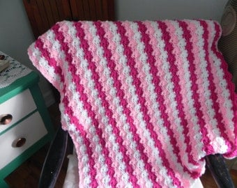 Criss-Cross hand crocheted Pink and White Afghan/throw/blanket