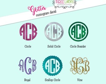 Glitter Monogram Decal- Monogram Sticker- Vinyl Decal- Car Decal- Laptop Decal- iPhone Decal- Yeti Decal- Camelback Decal