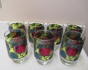 Vintage Stain Glass/Mosaic Glasses - Set of 7