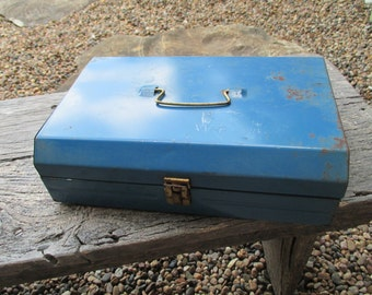 Vintage Blue Metal Box With Clasp and Handle
