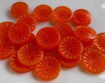 """20 Orange Starburst Flower Round Buttons Size 1/2""""."""