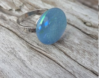 Blue and sterling silver ring