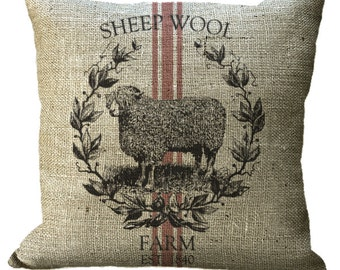 Burlap Sheep Grainsack in Choice of 14x14 16x16 18x18 20x20 22x22 24x24 26x26 inch Pillow Cover