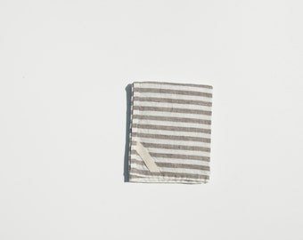 Linen Dish Towel in Brown Stripe