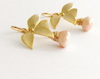 14K Gold Filled Peach Moonstone Earrings, Gold Wild Orchid Flower Earrings, Dusty Pink