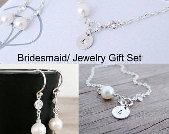 Discounted JEWELRY SET Freshwater Pearl Bracelet and Earrings, Diamond CZ, Sterling Silver, June Birthstone, Bridesmaid Gift