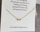 Tiny gold heart necklace, floating hearts, bridesmaid, maid of honor, matron of honor sister gift, everyday, minimalist jewelry,