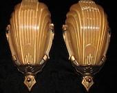 Vintage Pair Art Deco Slip Shade Wall Sconces/ Markel Reserved for Tariq Haq