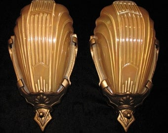 Vintage Pair Art Deco Slip Shade Wall Sconces/ Markel FREE SHIPPING to the USA