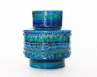 Hand Built Rare Large Rimini Blu Mid-Century Vase - Bitossi 60s