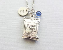 Potato Chips Necklace, Bag of Chips, Crisps Fast Food Jewelry, BFF, Silver Initial,Swarovski Birthstone,  Personalized,Monogram,Hand Stamped