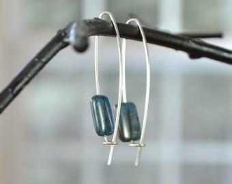 Blue Apatite Earrings, Long Blue Earrings, Dark Blue Earrings, Trendy Earrings
