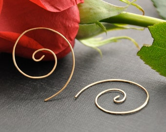Gold Spiral Earrings, Gold Swirl Earrings, Gold Spiral Hoop, Gold Wire Earrings, Spiral Hoop Earrings, Jewelry Under 50, Gift For Her