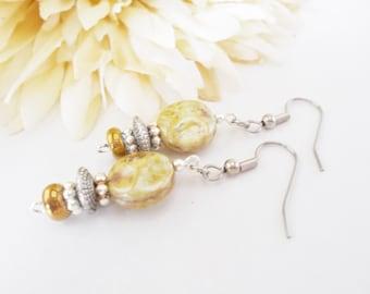 Bohemian Earrings, Boho Yellow Earrings, Clip On Earrings, Nickel Free, Yellow Glass Drop Earrings, Birthday Gift for Her, Hippie Jewelry