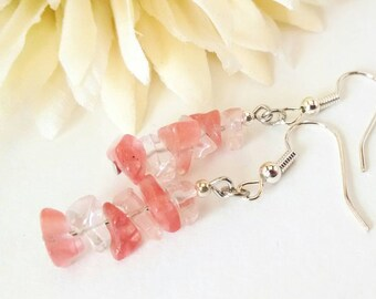 Cherry Quartz Earrings, Pink Quartz Earrings, Pink Stone Earrings, Raw Quartz Earrings, Light Pink Earrings, Cherry Quartz Jewelry