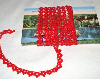 Vintage Cotton Lace Tatting Trim in Red 1.75 yds