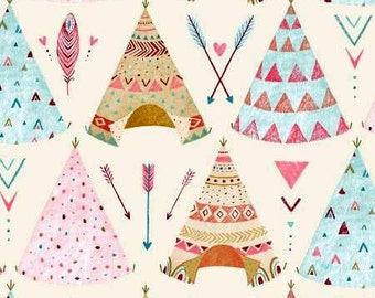 Dream Catchers Teepees Cream cotton quilting fabric by Lucie Crovatto for Studio E Fabrics  sold per yard