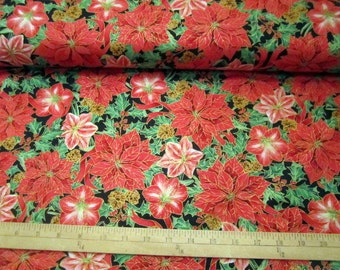 Christmas Fabric Joy To The World Poinsettia & Amaryllis on Black by Lisa Conlin premium cotton fabric from Quilting Treasures - BTY