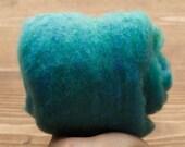 Turquoise Needle Felting Wool, Wool Batting, Batts, Fleece, Wet Felting, Spinning, Dyed Felting Wool, Blue Green, Teal, Fiber Art Supplies