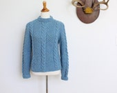 Vintage Fisherman Sweater // Cable Sweater Small // Blue Wool Hand Knit Sweater
