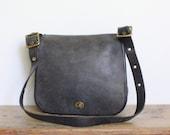 Vintage Coach Bag // Stewardess Bag in Gray Blue // New York City Cashin Saddle Bag NYC