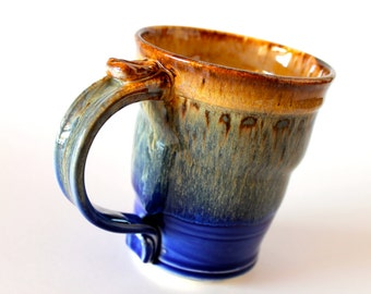 One 18 oz. Handmade Pottery Coffee Mug, Round and Dotty, In Blue and Green