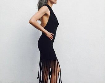 FRINGE! Hooded cowl dress with long fringe!