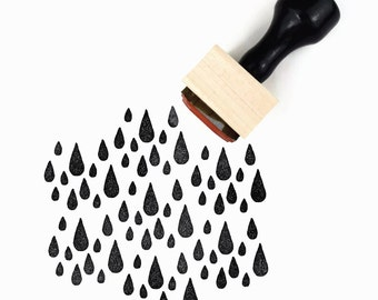 Rubber Stamp A Little Fall of Rain - Weather Rainy Day Tear Drops Stamp