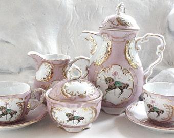 Unicorn Pink and Gold Customized Tea Set, Custom Tea, Bespoke Teacups, Sugar, Creamer, Design Your Own Tea party!
