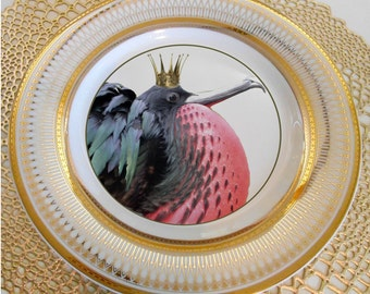 Gold Island Christmas Frigate Bird, Bird Dishes, Bird Plates, Bird Dinnerware, Bird Tableware, Wedding China, Avian Plates, Bird Crown Dish