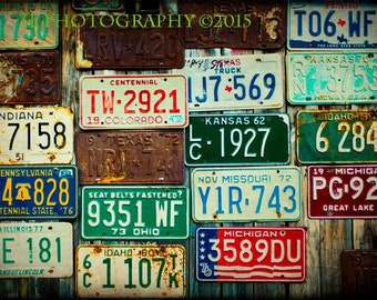 License Plates Rusty Rustic Home Decor Western Photography Fine Art Texas Wall Art