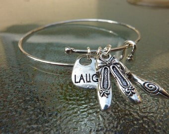 Bracelet:silver bangle with ballet slipper,laugh and goddess woman charm-stocking stuffer,dancing girl,fun