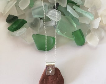 Maine beach stone necklace