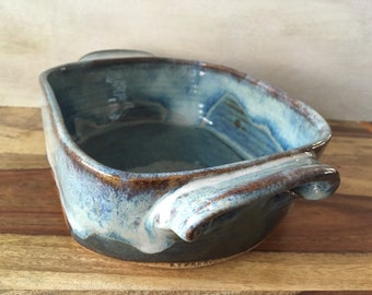 Ceramic Caserole Dish, Pottery Baker, Handmade Pottery for the Cook, Blue Baking Dish, 4 Cup Casserole Baking Dish