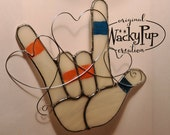 Custom Order for Shelley America Sign Language I Love You Hand in Stained Glass